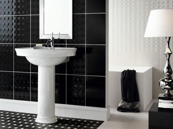 black and white ceramic tile bathroom design