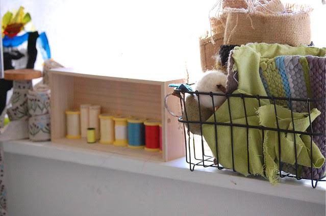 windowsill in the craft room