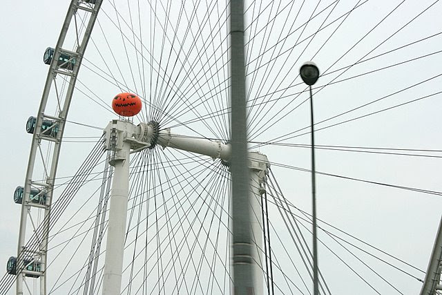 Jack lights up the Singapore Flyer with his spooky smile