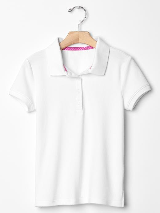 Gap Girls Solid Pique Polo Size M - White