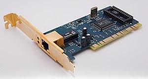 English: 100MBit Ethernet NIC PCI card Deutsch...