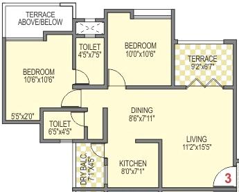 2 BHK Flat - B 103 - 611 Carpet + 60 Terrace - Rs. 37,35,249 without Car Park at Belvalkar Kalpak Homes Kirkatwadi Pune 411024