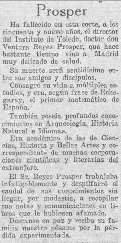 Obituario de Ventura Reyes Prósper en El Sol el 29 - 11 -1922