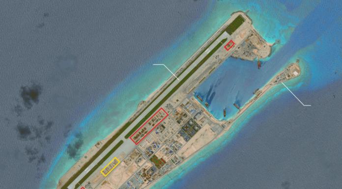 Đảo nhân tạo Đá Thập do Trung Quốc xây dựng trong quần đảo Trường Sa. (Hình: CSIS)