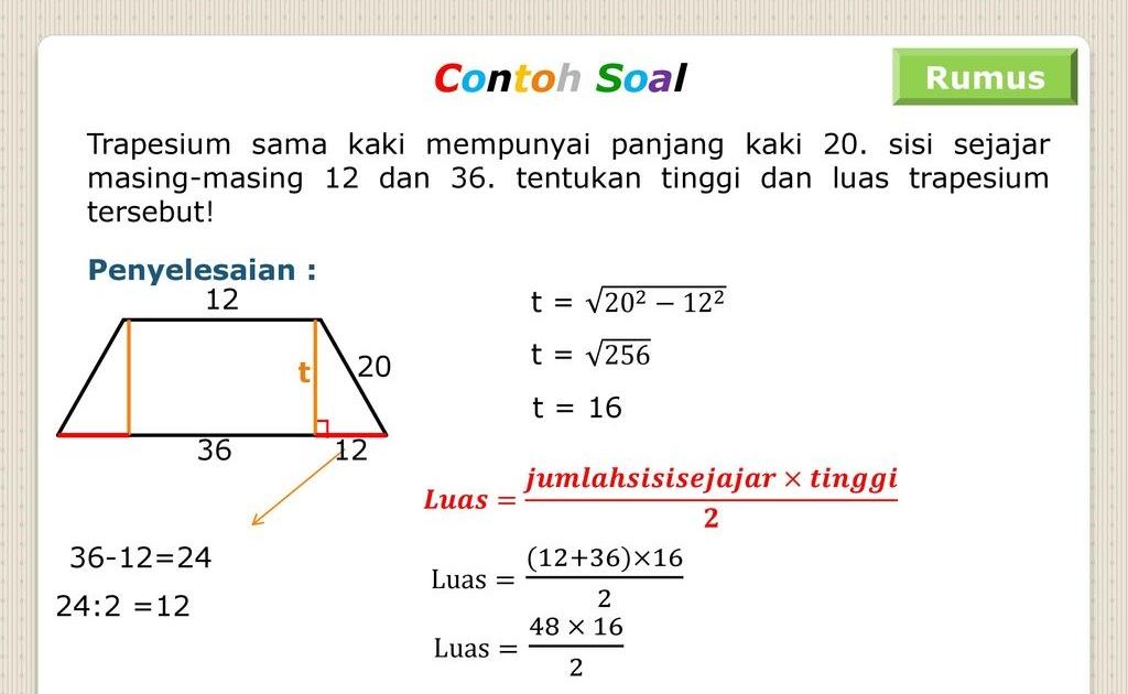 Rumus Mencari Luas Trapesium Sama Kaki Matematika Dasar