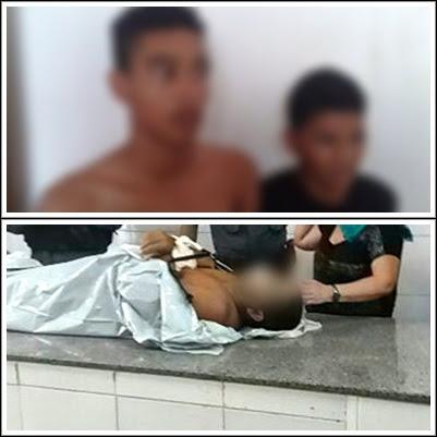 Acima,os dois adolescentes detidos pela polícia como suspeitos do crime. Abaixo, o subtenente Garcês que foi a óbito no Socorrão II.