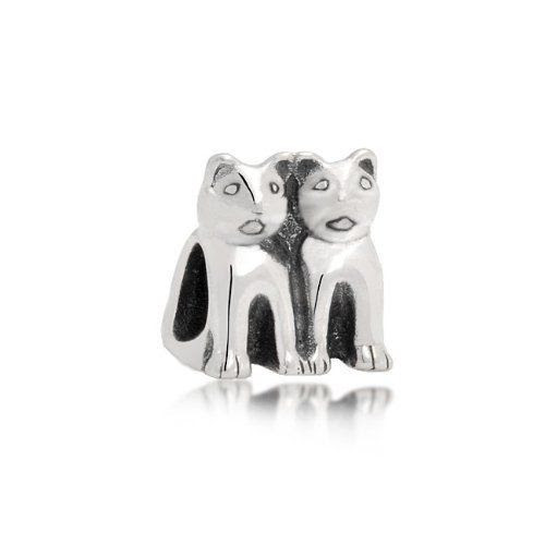 CAT CANDY!  Bling Jewelry 925 Silver Twin Cat Animal Kitty Charm Fits Pandora: Jewelry