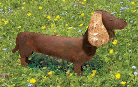 Rustic Metal Dachshund Garden Statue - Eclectic - Garden ...