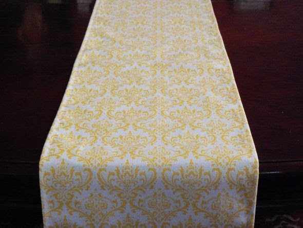Yellow and White Damask Table Runners wedding yellow and white damask