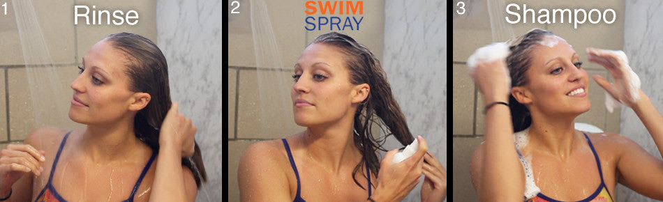 SwimSpray Eliminates Chlorine from Hair and Skin after Swimming