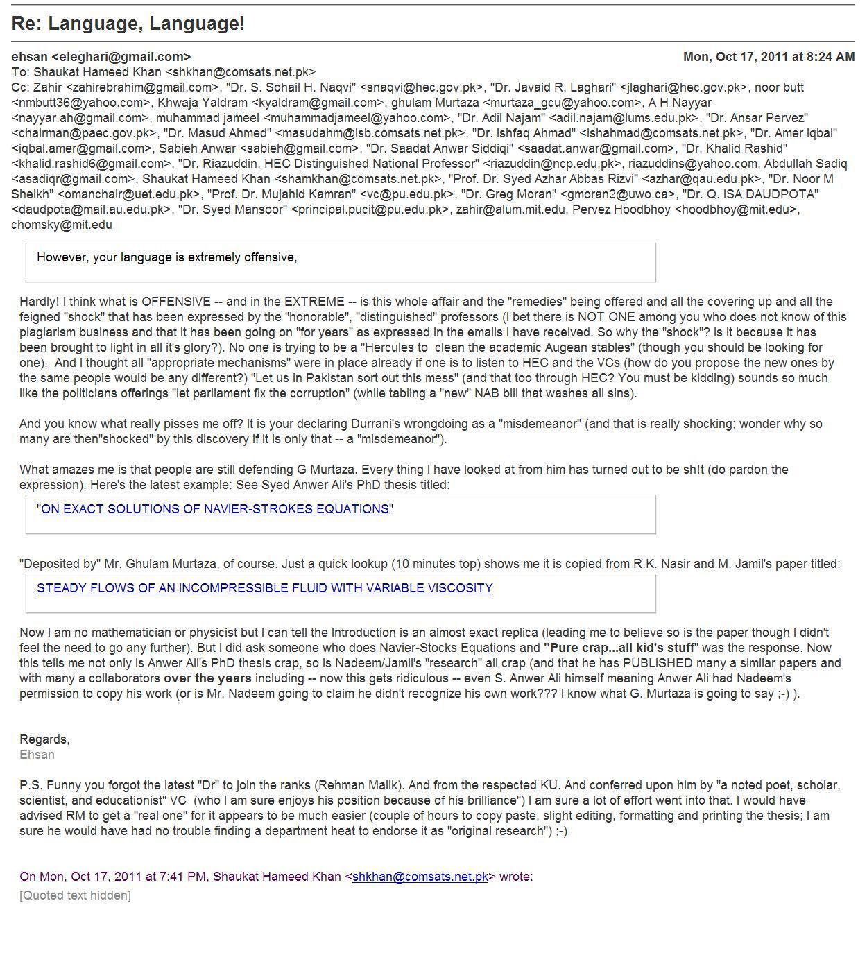 Activist Ehsan Leghari of Lahore Pakistan responds to Dr. Shaukat Hameed Khan