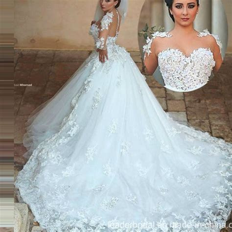 China Sheer Long Sleeves Bridal Ball Gown Tulle Lace Puffy