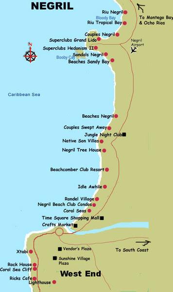 7 Mile Beach Jamaica Map