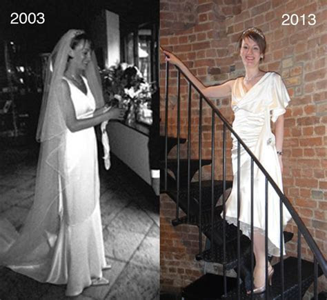 Wedding dress upcycled for anniversary party