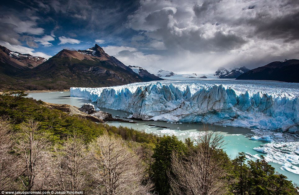 The Perito Moreno Glacier in Los Glaciares National Park in  Argentina covers the equivalent of 35,000 football pitches