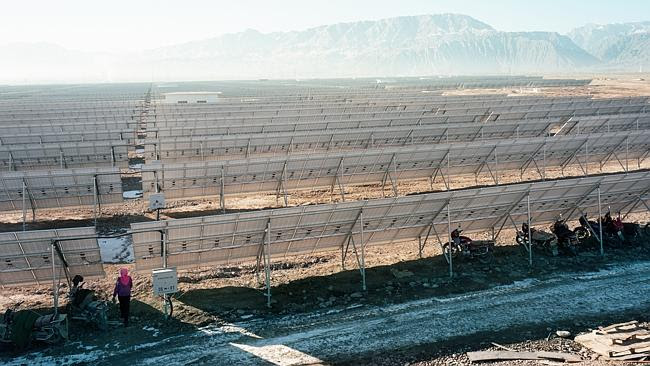 This solar farm under construction in China's remote Gansu province is five times the siz