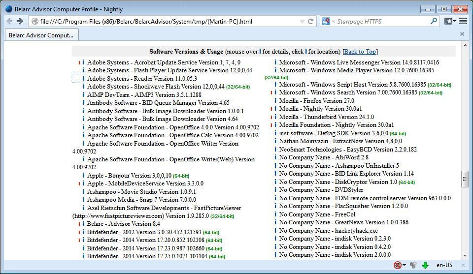 software instalado