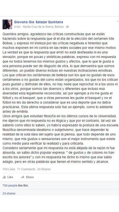 Facebook post de Giovana Salazar