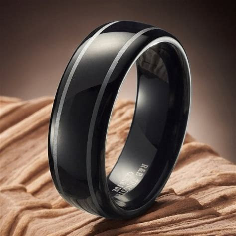 Mens Black Tungsten Wedding Bands   Fashion Belief