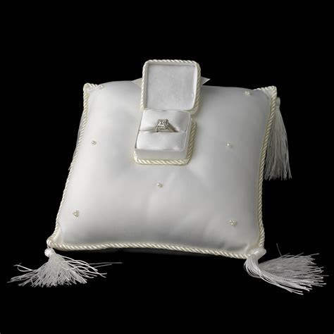 Elegant Ivory Ring Bearer Pillow with Ring Treasure Box