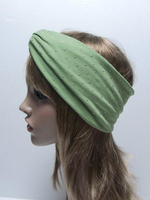 20 OFF-MINT GREEN/studded Jersey Twist Turban headband