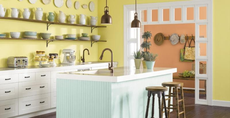 Image result for pastel yellow kitchen