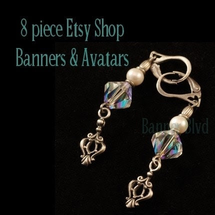 Jewelry, Earrings, Necklace 8 Piece Etsy Shop Banners And Avatars Set