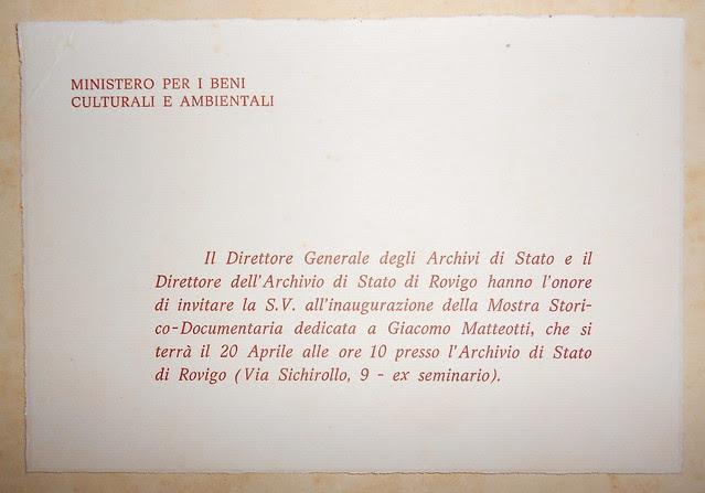 Mostra storica su Giacomo Matteotti 1974 a Rovigo