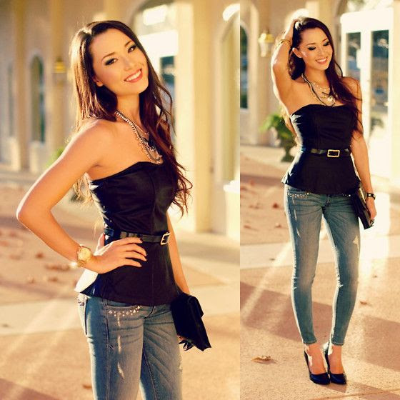 Express Minus The Leather Peplum Top, Express Skinny Jeans Studded, Express Black Patent Belt, Express Chevron Necklace