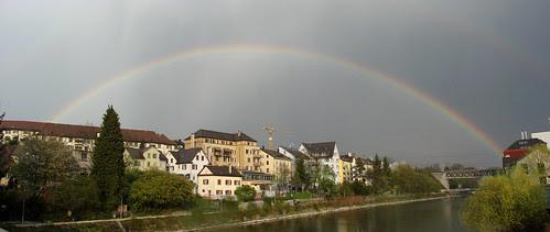 Regenbogen am Zürcher Himmel 20.4.2010 Panorama Photoshop