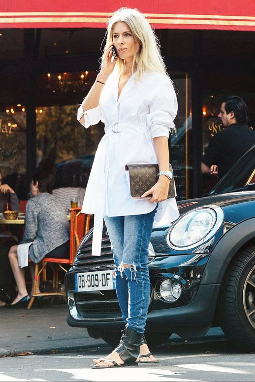 Le Fashion Blog Street Style Sarah Harris Elevated Casual Look Belted Tie Front White Shirtdress Distressed Skinny Denim Black Leather Ankle Wrap Sandals Via Vogue
