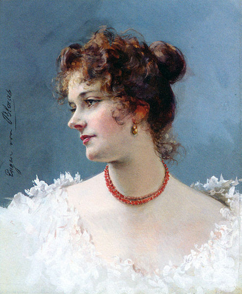 File:Blaas Eugene de Portrait of a Lady Pencil Watercolor Gouache.jpg