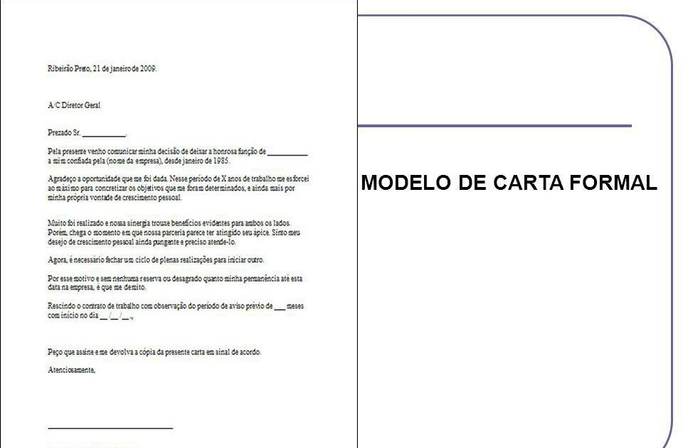Carta Formal Exemplo Portugues About Quotes A