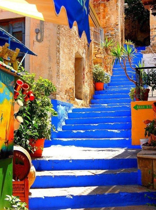 Mavi Merdiven, Symi Adası, Yunanistan
