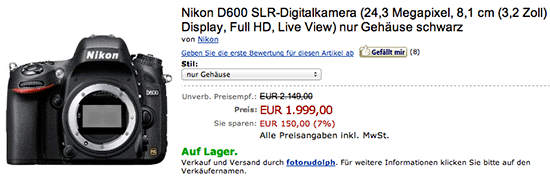 Nikon D600 price drop Amazon Germany Nikon D600 price drop in the UK, Germany
