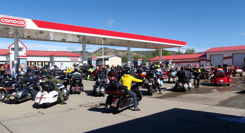 Run for the Wall fueling in Raton, New Mexico