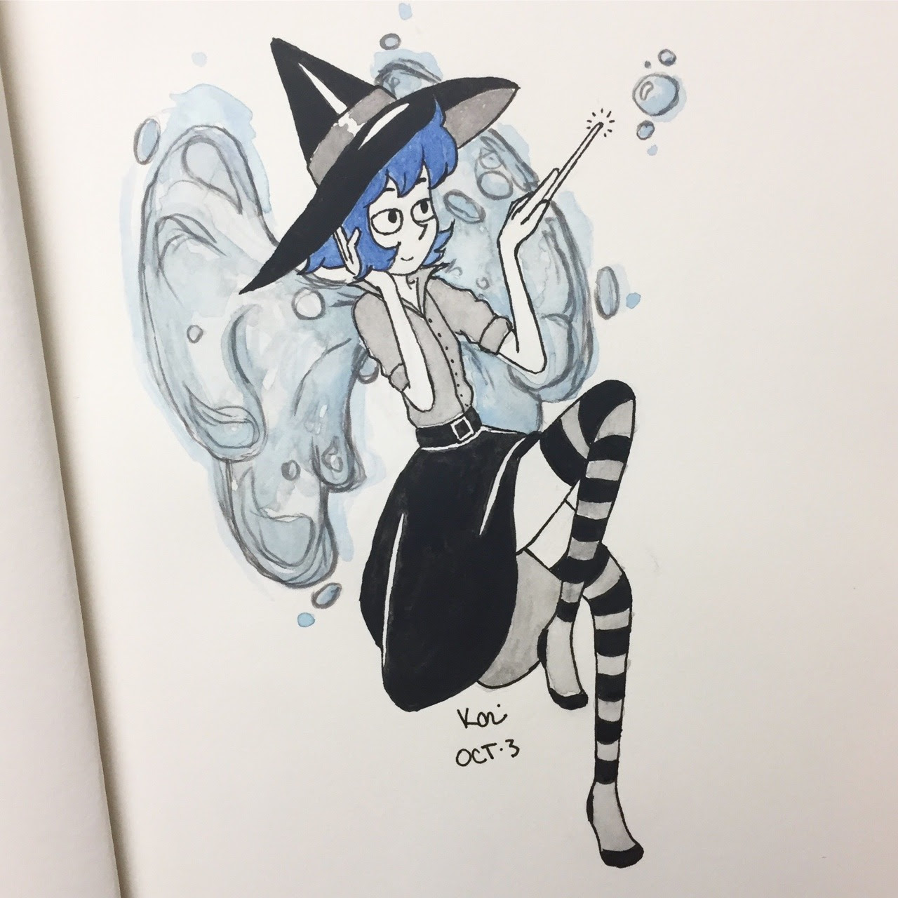 "Inktober day 3- the water witch lapis lazuli 💧 I know I literally just drew her but both the prompts I'm using have ""winged witch"" and ""water/stars"" as themes for today, and I can't think of anyone..."