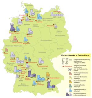 Map shows nuclear power plants in Germany