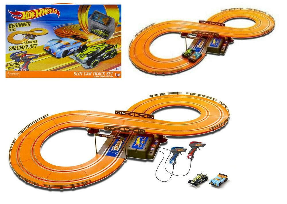 Be the first one to the finish line on this 30 ft electric Hot Wheels Race Track.Two can race each other to the finish line with this Hot Wheels Slot Track.This set includes: track set, 2 Hot Wheels vehicles with working headlights and 2 wired controllers with Turbo Boost.Intended for ages 5+/5(63).