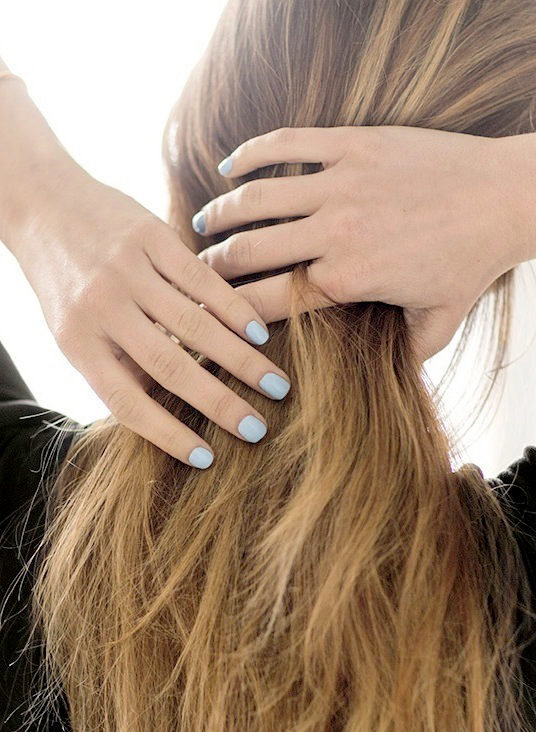 Le Fashion Blog Nail Inspiration Light Blue Nails Summer Manicure Via Garance Dore