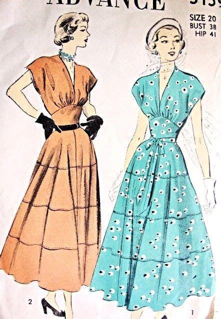 1940s Lovely Midriff Dress Pattern Advance 5159 Figure