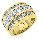 MENS 3.38 CARAT PRINCESS BAGUETTE CUT DIAMOND RING WEDDING