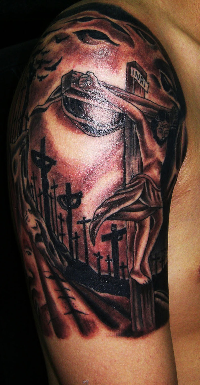 Charming Jesus Cross Tattoo On Right Shoulder Tattoos Book