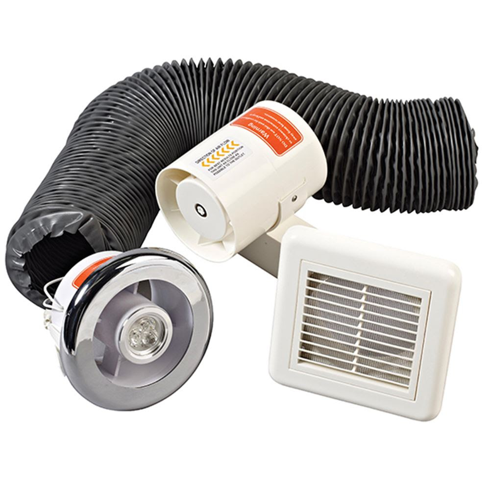 Bathroom Inline Extractor Fan, White Led Light \u0026 White Extractor Box 100m\/hr eBay