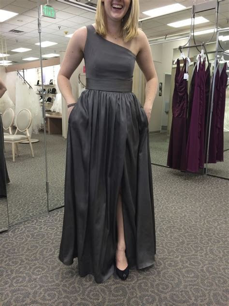 Vera Wang One Shoulder Dress with Satin Sash. Crepe top