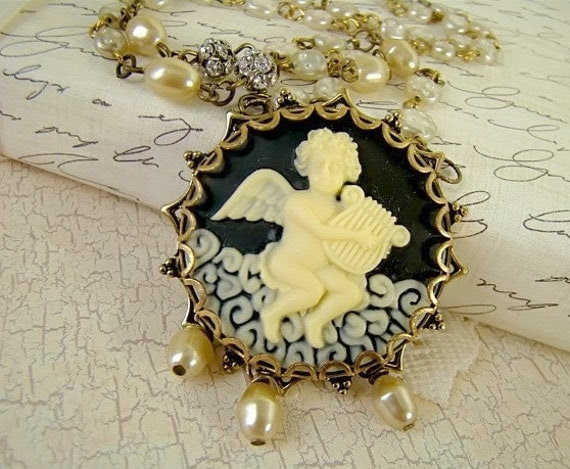 Victorian Cupid Cameo Pearl & Rhinestone Assemblage Necklace by Alyssabeths