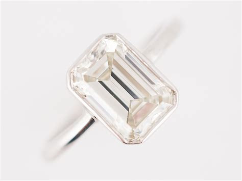 Engagement Ring Modern 2.05 Emerald Cut Diamond in 18k