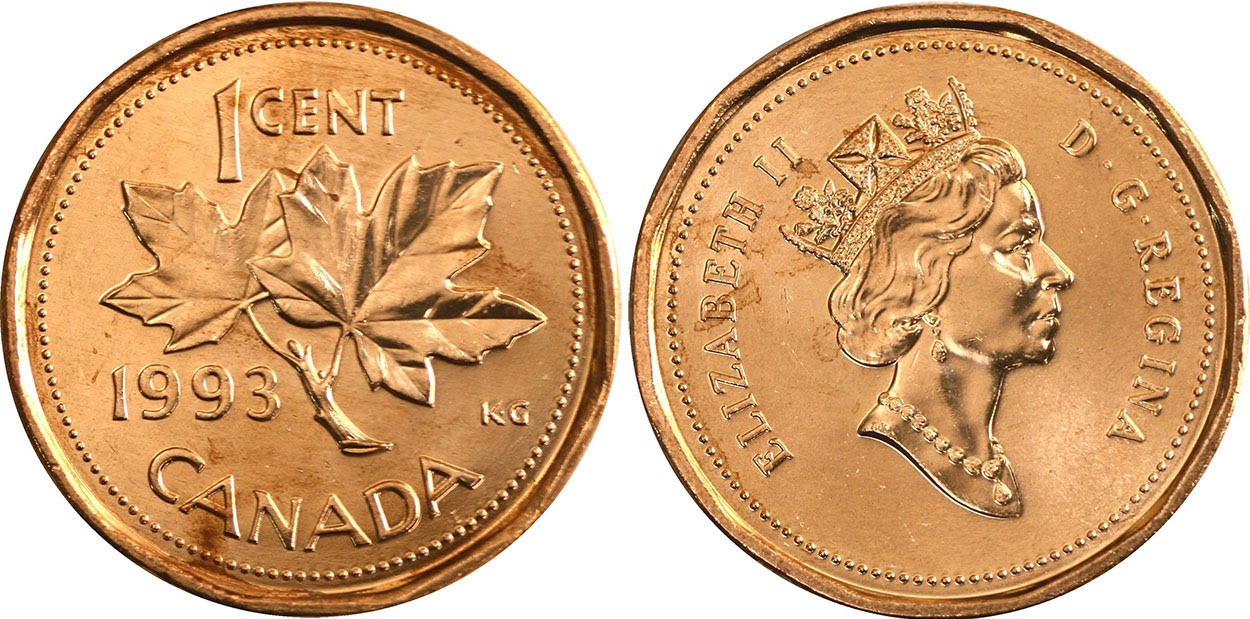 Coins and Canada - 1 cent 1993 - Canadian coins price ...
