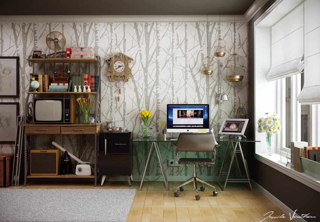 Home Office Tree Wallpaper Pattern Interior Design Ideas