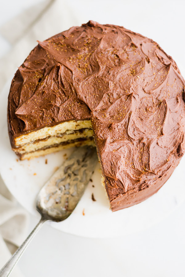 together with covered inwards the virtually creamy chocolate frosting the best yellowish cake with chocolate frosting